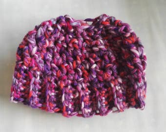 Girls chunky messy bun / ponytail crochet hat pink, purple, multi 5 6  7 8 9 10  years