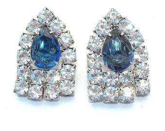Art Deco Glamour Party Bridal Jewelry Sapphire Blue Faux Diamond Rhinestone Vintage Cathedral Dangle Fringe Earrings