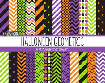 Halloween Digital Paper Package. Halloween Geometric Backgrounds. Printable Papers. Geometric Patterns. Digital Scrapbook. Instant Download
