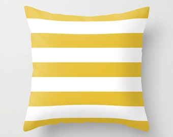 Stripes Pillow  - Striped Pillow - Mustard Yellow and White Stripes Pillow  - Modern Throw Pillow - Home Decor - By Aldari Home