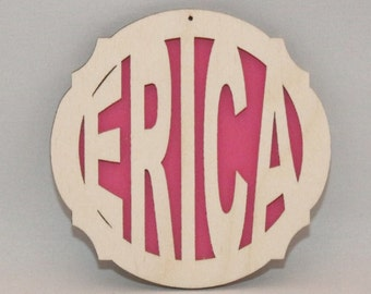 Laser Engraved Custom Name Ornament - HOT PINK
