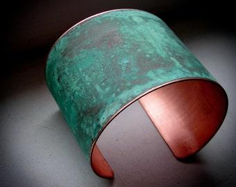 """The Original Patina Cuff - Green Verdigris - 2"""" Copper Cuff"""