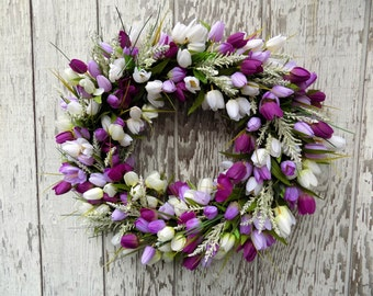 "Spring Summer Wreath, 22"" Purple Tulips Wreath, Spring Tulips Wreath, Purple Wreath, Easter, Mothers Day Wreath, Spring Décor"