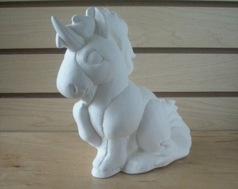 Ready To Paint Ceramic Bisque Unicorn Piggy Bank MADE TO ORDER Childs