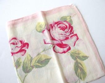 Vintage Handkerchief Large Pink Roses, Asymmetrical Design