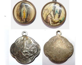 2 medals charms pendant religious theme for antique jewelry creations