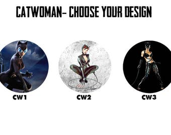 "CATWOMAN 2.25"" Button Style Pins, Mirrors, Magnets, Bottle Openers & Keychains"