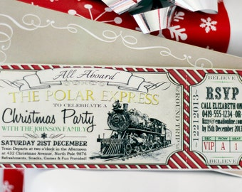 Polar Express CHRISTMAS Party Invitation - INSTANT DOWNLOAD - Partially Editable & Printable Ticket Family Invite by Sassaby Parties