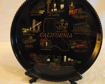 Vintage California State plastic Platter serving decorative tray