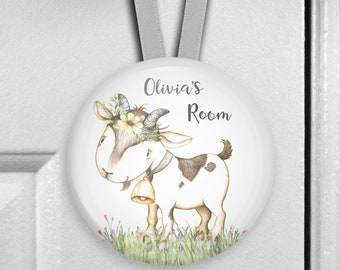 Personalized baby goat decor for nursery - childrens bedroom name signs - kids door hangers - personalized baby shower gifts - HAN-PERS-38F