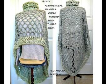 CROCHET PATTERN, Poncho Pattern, Asymmetrical Cape, #1127 - Women's clothing, Lightweight summer shawl