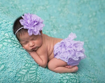 Lavender Bloomer Set, Bloomer and Headband, Newborn Photo Prop, Baby Girl Prop, Lace Bloomers, Baby Headband, Diaper Cover