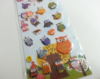 Crazy Sales Funny Owl Stickers Set  - 1 sheet