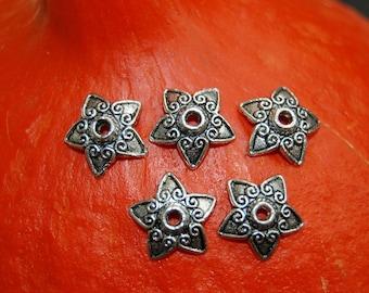 4 bead caps silver metal star