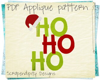 Santa Applique Pattern -  Christmas Applique Template / Kids Ho Ho Ho Shirt / Christmas Quilt Pattern / Holiday Nursery Wall Hanging AP304-D