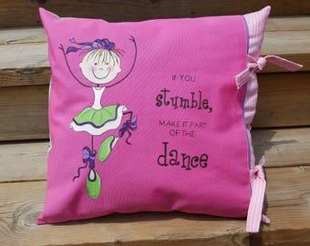 Girl's Ballerina Pillow with insert, Ballerina Pillow Cover, Kids Hand Painted Pillow, Teen bedroom decor,Gift for girls,Ballerina bedroom