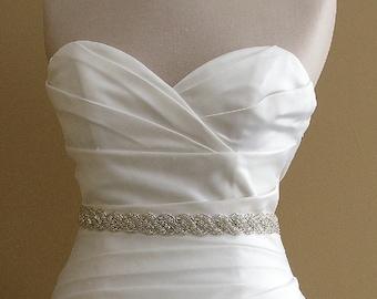 Wedding Dress Sash, 18 Inch Bridal Sash, Beaded Crystal Wedding Belt, Rhinestone Rope Wedding Sash, Thin Jeweled Bridal Belt, No. 5040S-18