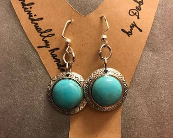 Simulated Turquoise Earrings.