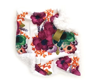 READY TO SHIP, Burgundy Floral Lovey, Flower Blanket, Minky Lovey, Baby Lovey, Lovey, Girl Lovey, Big Flowers Lovey, Baby girl, Baby Shower