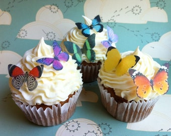 EDIBLE Butterflies The Original - 12 Small Assorted - Cake & Cupcake toppers - PRECUT and Ready to Use