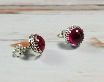 8mm Lab Grown Ruby Sterling Silver Crown Post Earrings, Stud Earring Boho Earrings, Gypsy Earrings