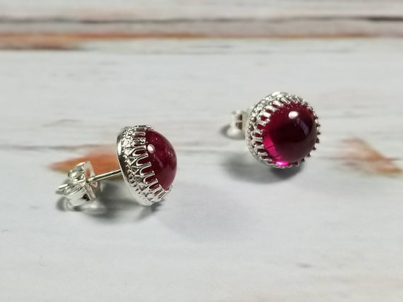 8mm Lab Grown Ruby Sterling Silver Crown Post Earrings, Stud Earring Boho Earrings, Gypsy Earrings
