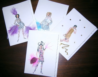 """Fashion illustration """"Simply Mod"""" note cards the 60s part 2"""