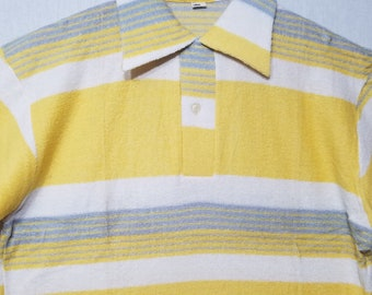 NOS / 1950s Shirt / L / Gradation / Surfer / Polo / Rockabilly / Terry Cloth / 1950s Mens Fashion / Beach / New Old Stock / Deadstock / JD