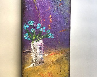 5.5 x 12 inches Flowers Abstract Art Acrylic Painting on wood Ready to hang with hanger Contemporary Mixed Media Modern Paint Wall Original