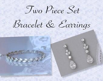 Bridal Jewelry Set, Bridal Bracelet, Bridal Earrings, Rhodium Tennis Bracelet,Crystal Bridal Jewelry, Wedding Jewelry