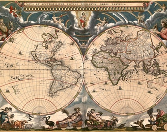 Antique World Map, Old Vintage Map, 1685, HD Canvas Print or Art Print, Vintage Antique Artwork, Retro Wall Poster, Fade Proof Reproduction
