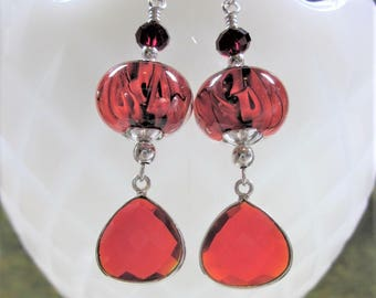"Sterling Silver Earrings - ""Red Gems"" Artisan Lampwork Glass, Swarovski Crystal, Unique, One of a Kind, SRAJD, OOAK"