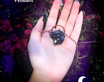 Black Spirit Quartz Crystal Choker Necklace Electroformed