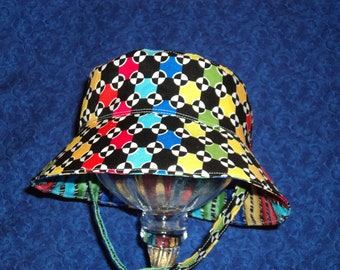 Baby Boy Bucket Hat Reversible Primary Colors Chin Straps with Velcro 12-18 months