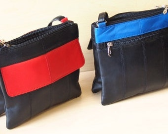Two Toned Genuine Leather Crossbody Bag