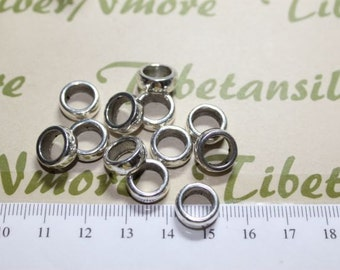 10 pcs per pack of 11x6mm Round 7mm diameter Hole Beads Antique Silver Lead Free Pewter