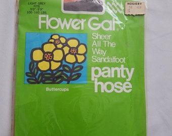 Vintage NOS Panty Hose Retro Stockings Nylons Unopened Sandalfoot Flower Gal Light Grey Pin-up