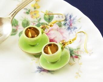 Green Teacup Earrings - Tea Lover Gift - Teacup Jewellery