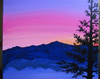 Sunset Over Appalachia - Original 11x14 Acrylic Painting