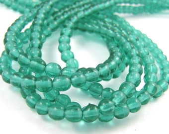 Emerald Green 4mm Smooth  Round Czech Glass  Beads 100pc #1923