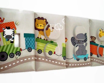 Jungle Light Switch Cover - Jungle Nursery - Gender Neutral Nursery - Train Outlet Covers
