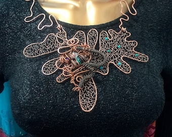 One of A Kind Copper and Turquoise Necklace