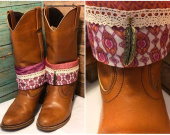 Boot jewelry. Reversable! Pair (2) boho fabric. Free shipping!