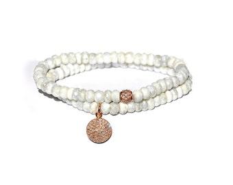 14k Rose Gold Pave Diamond White Sapphire Bracelet