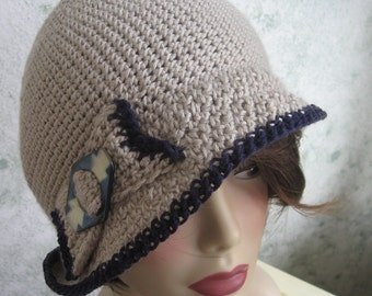 Crochet Pattern Womens Flapper Hat With Bow Trim Instant Download May Resell Finished