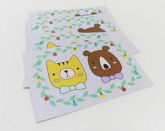 Christmas postcard, Holiday card, Cute cat and bear - Set of 5