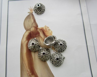 Silver Plated Brass Ornate Bead Caps