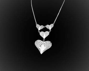 Necklace crazy for you in silver embroidery