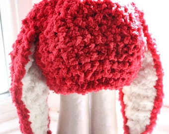 3 to 6m Easter Baby Hat Infant Prop Crochet Bunny Hat Baby Beanie Red Cream Bunny Rabbit Hat Red Prop   Crochet Baby Gift