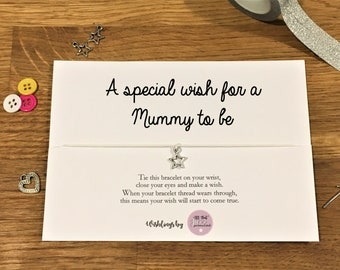 Personalised Wish Bracelet Mummy to be Mum to be Pregnant New parent New Baby mothers gift card